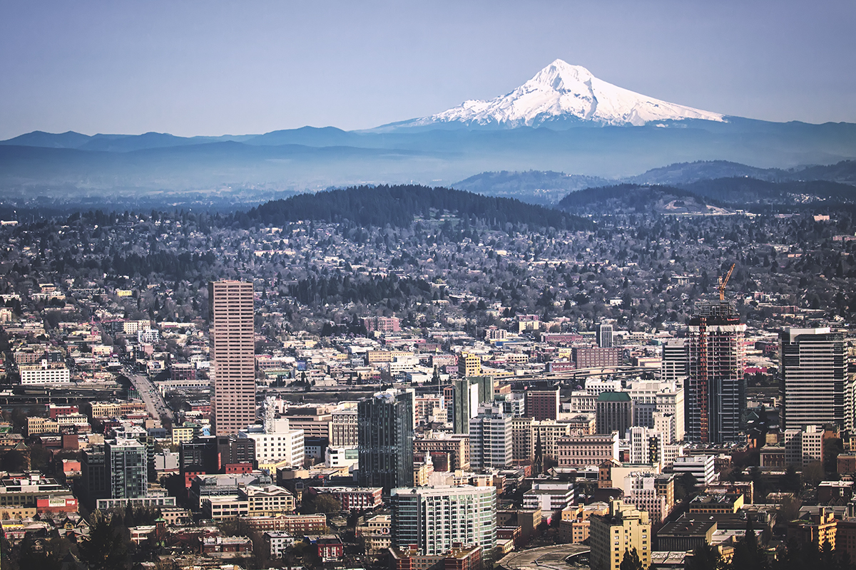 Portland, Oregon and Mount Hood from Pittock Mansion